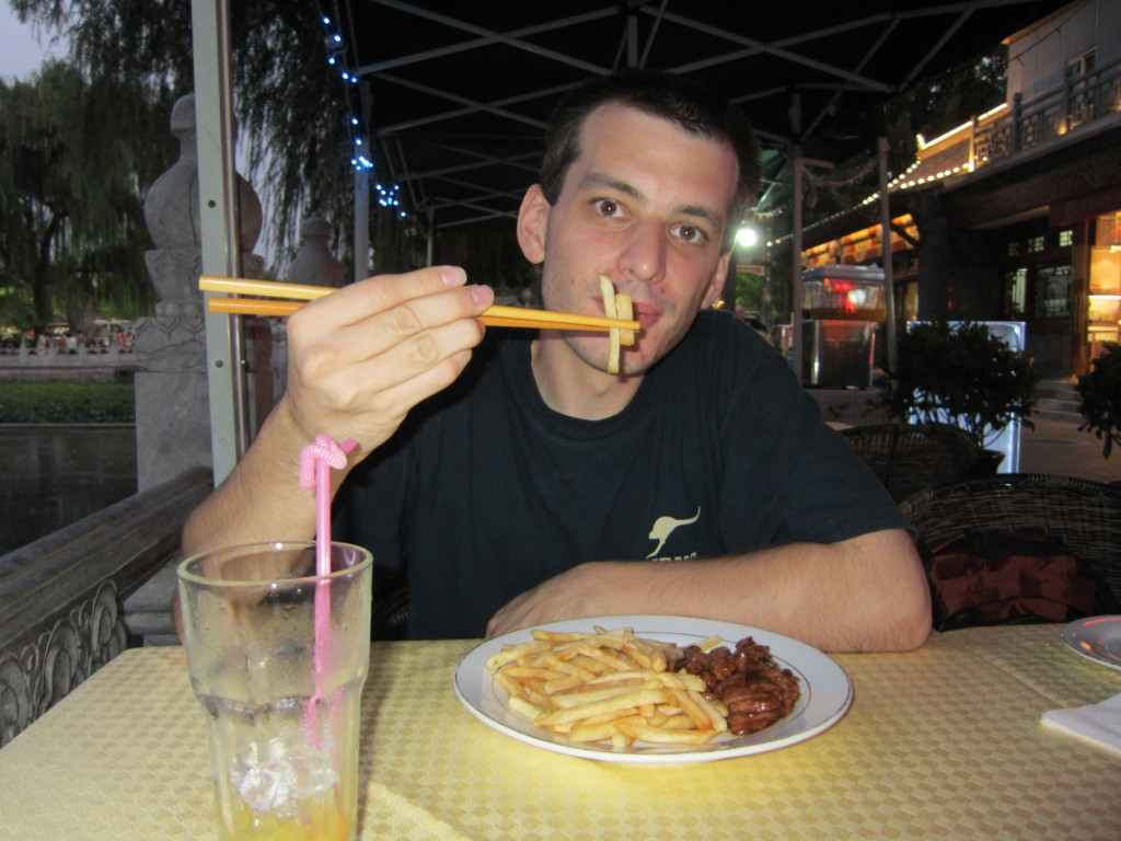 Finally...food. Not especially typical Chinese. But hey, I'm using chopsticks.