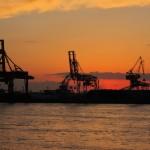 Here we had the nice sunset we wished for on the ferry. [2010/09/16 - Osaka/Osaka Aquarium]