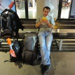 In front of Stuttgart Airport, eating a melon pan and waiting for the ride home. [2010/09/29 - Stuttgart/In front of STR]